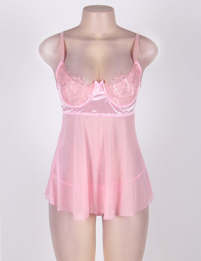 Extreme Delicate Plus Size Pink Lace Cute Mesh Babydoll Dress