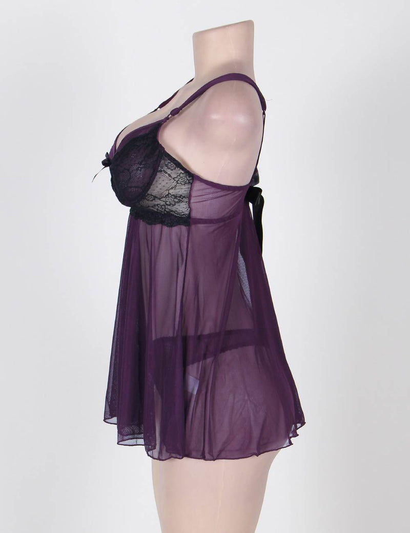 Queen Size Purple Mesh Black Lace Cup Underwired Babydoll Dress
