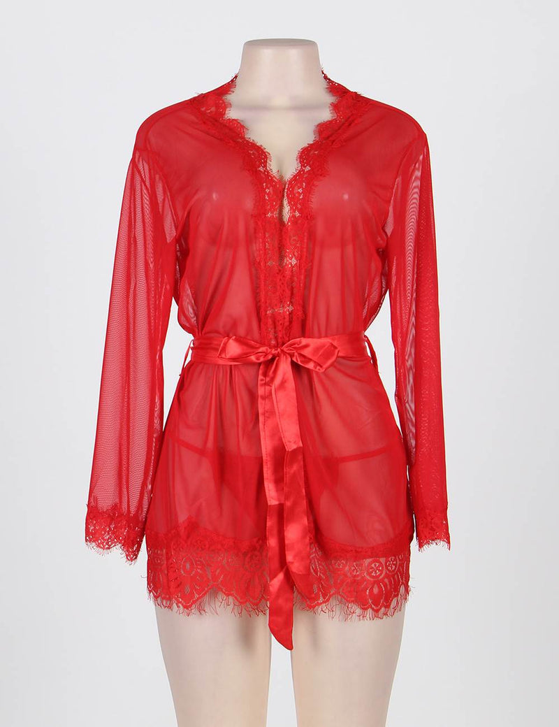 Bright Red Plus Size Sheer Lace Robe Sexy Nightwear Lingerie