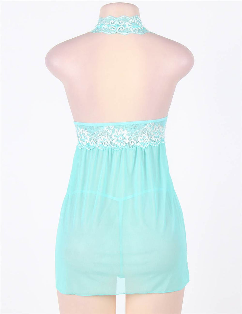 Delicate Green Floral Lace Stretchy Mesh Halter Babydoll Dress