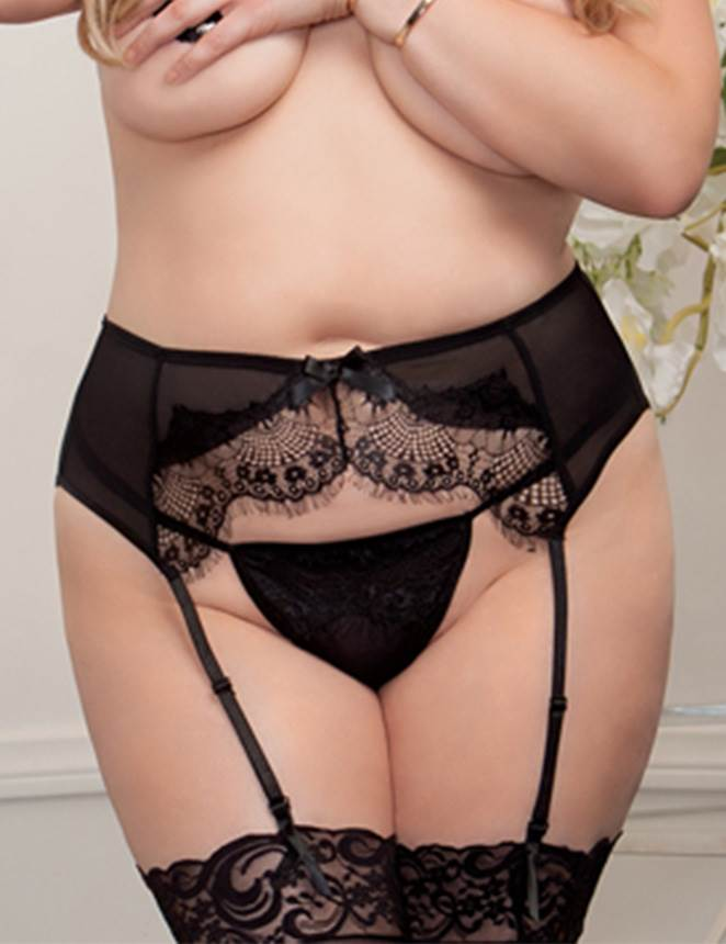 Plus Size Black Lace Crotchless Women Sexy Garter Panty Underwear