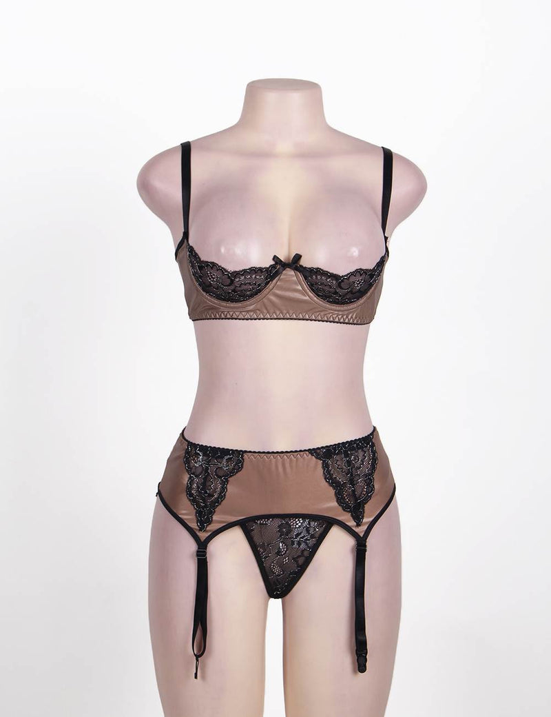 Super Sexy Faux Leather Open Cup Bra Set With Garter Straps