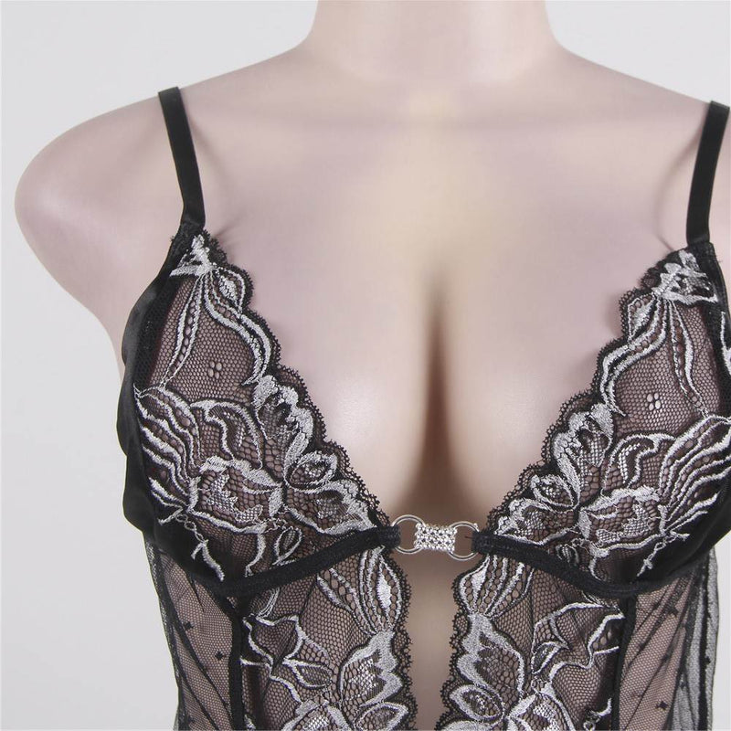 Classy Black Plus Size Floral Embroidery See Through Babydoll