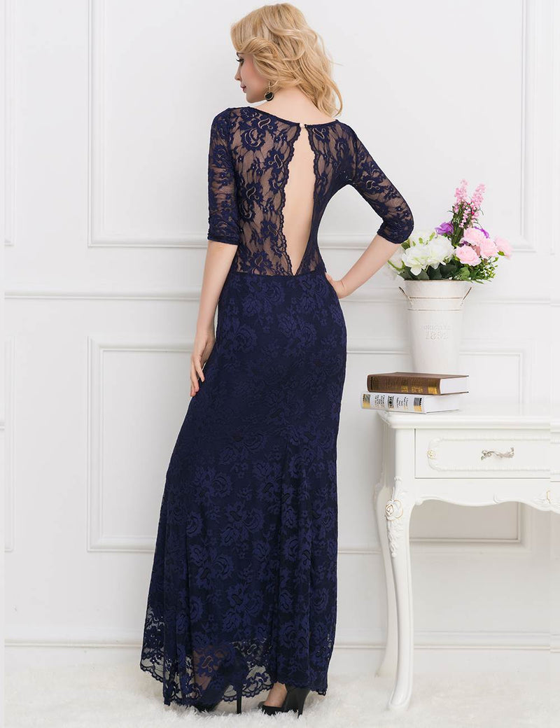 Blue Lace Floral Pattern V Neckline Gorgeous Women Sexy Party Dress