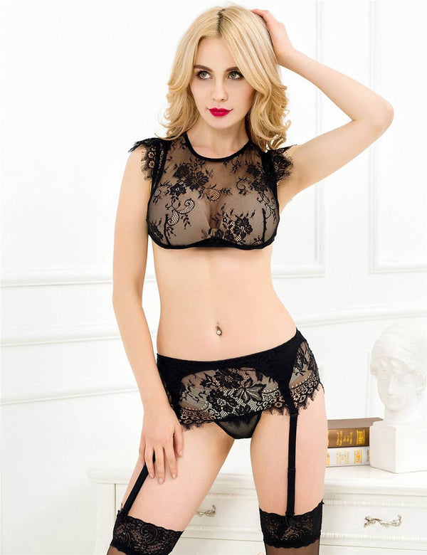 Super Exquisite Black Sheer Lace See Through Sexy Bra Panty Set