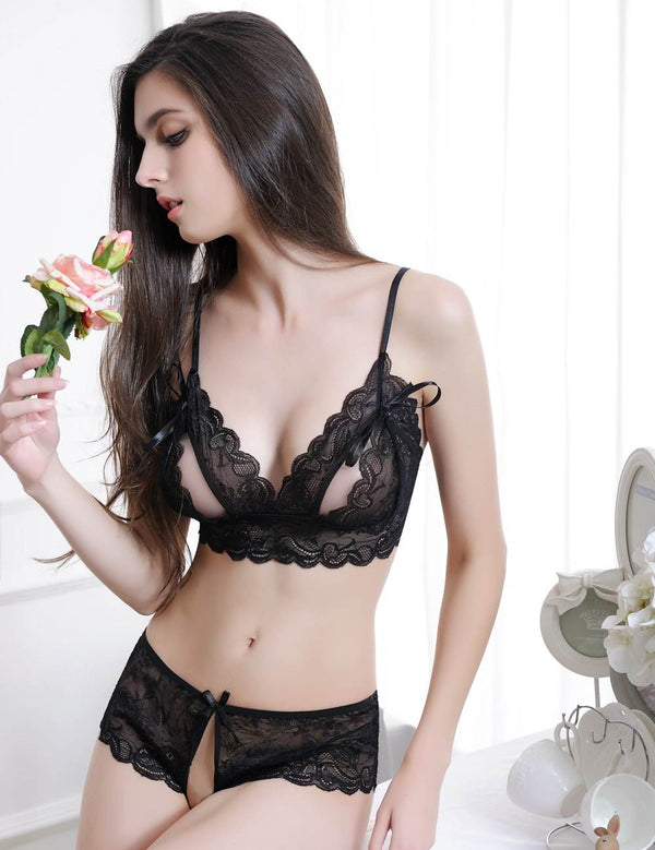 Erotic Black Soft Lace Open Cup Stylish Sexy Bra And Panty Sets