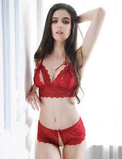 Super Sexy Red Lace Crotchless Panty Open Cup Bra and Panties