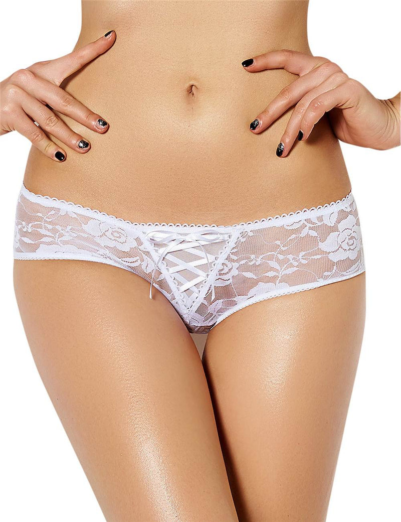 Extreme Exquisite Open Crotch Black Floral Lace Sexy Thong Panty