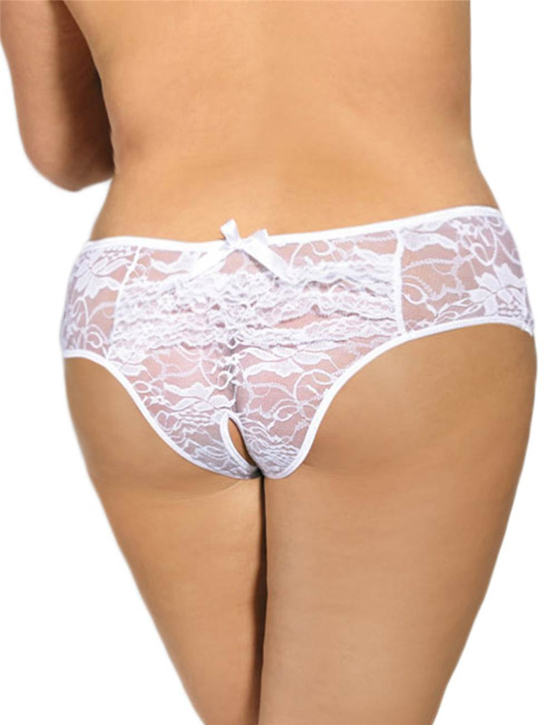 Plus Size Floral Black Lace Crotchless Women Sexy Panty