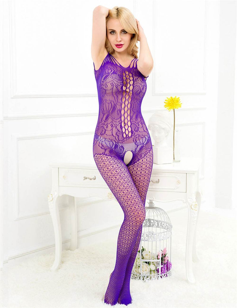 Super Exquisite Purple Mesh Crotchless Fishnet Body Stockings