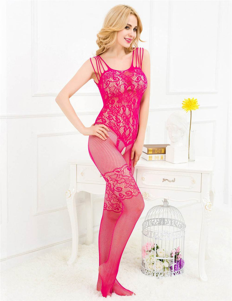 Exquisite Rose Red Stretchy Open Crotch Sexy Fishnet Bodystocking