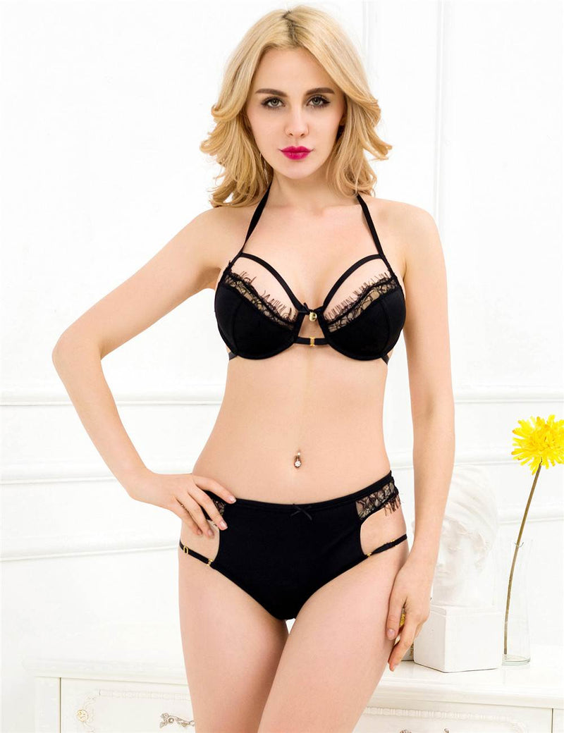 Classy Sheer Black Lace Open Cup Underwired Sexy Bra Set