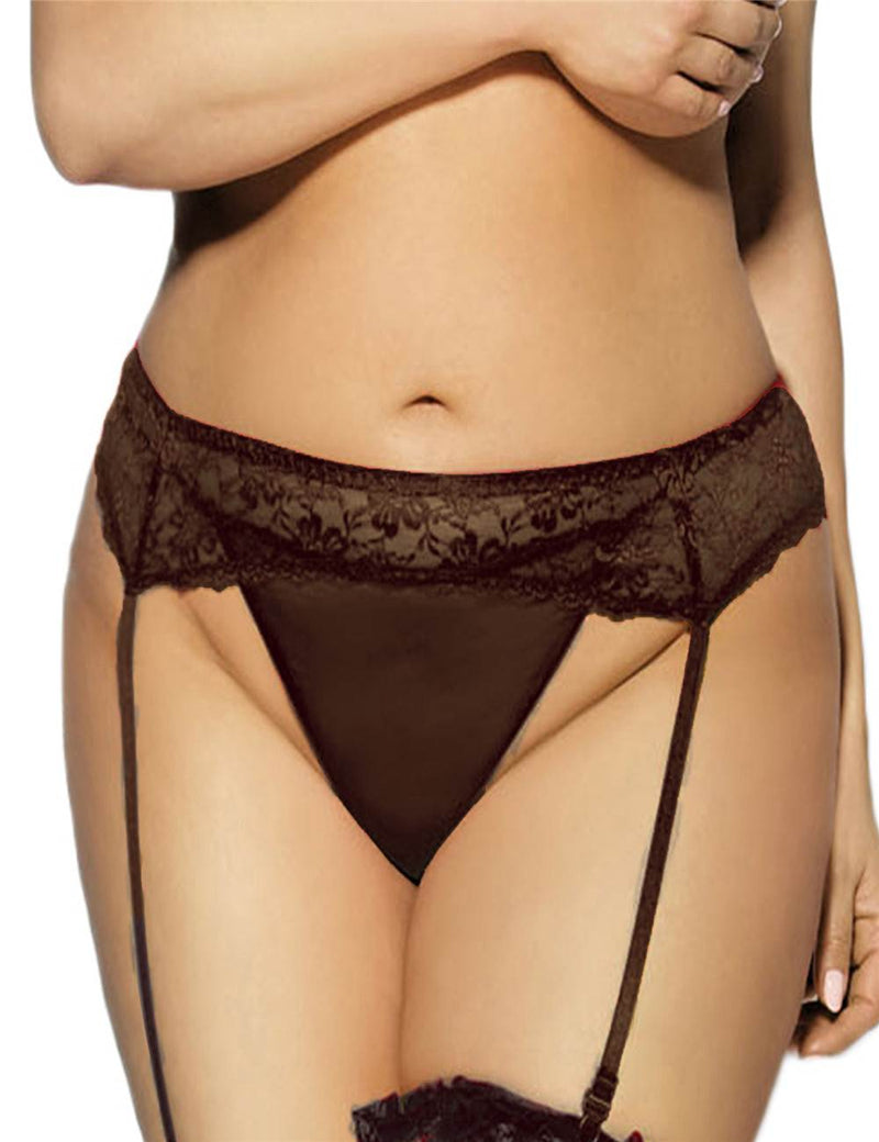 Exquisite Black Sheer Lace Plus Size Women Sexy Garter Belts