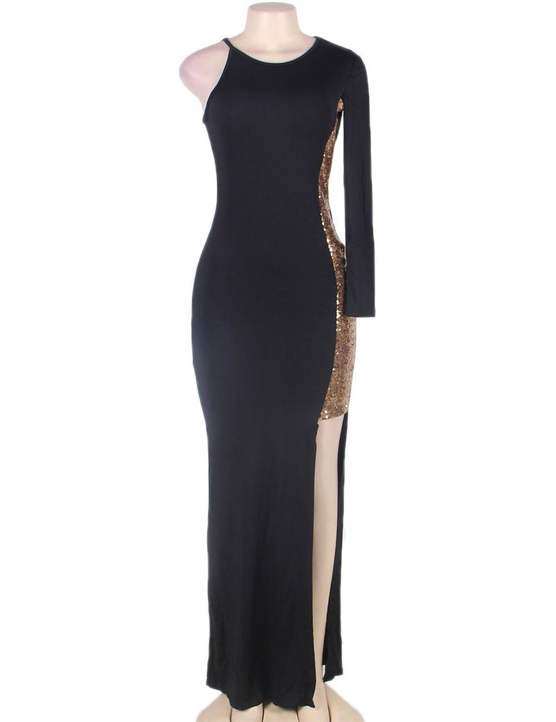 Top selling brand new club dress one sleeve golden shining sequin party dresses fashion design trendy plus size dresses