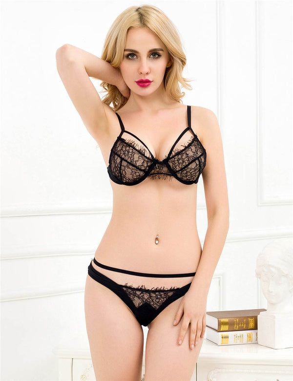 Stylish Black Sheer Lace Underwired Sexy Bra and Panty Set