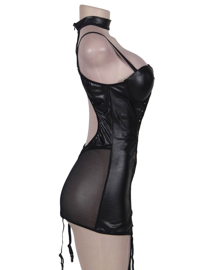 Sexy Black Leather Lace Stitching Underwired Backless Bustier Lingerie