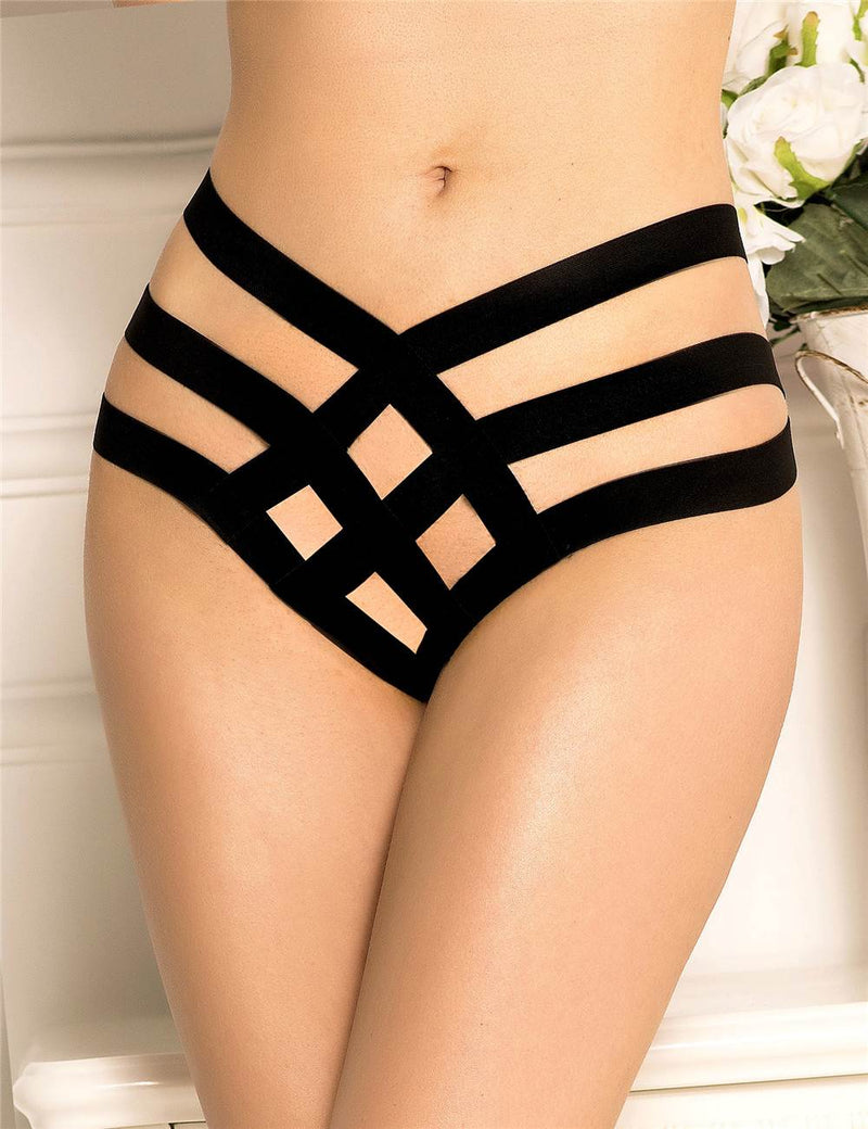 Hot Sale Nice Design Black Strappy Panty Sexy Thong Underwear
