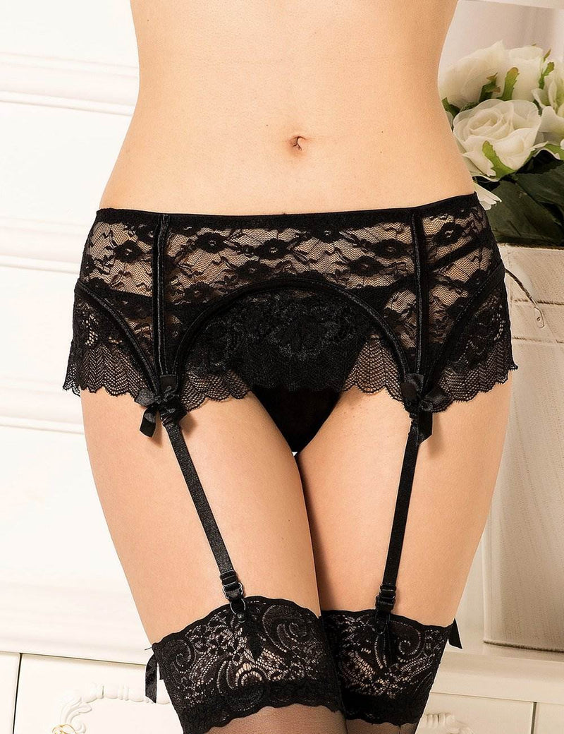 Plus Size Delicate Black Lace Sexy Garter Belt Women Underwear Set