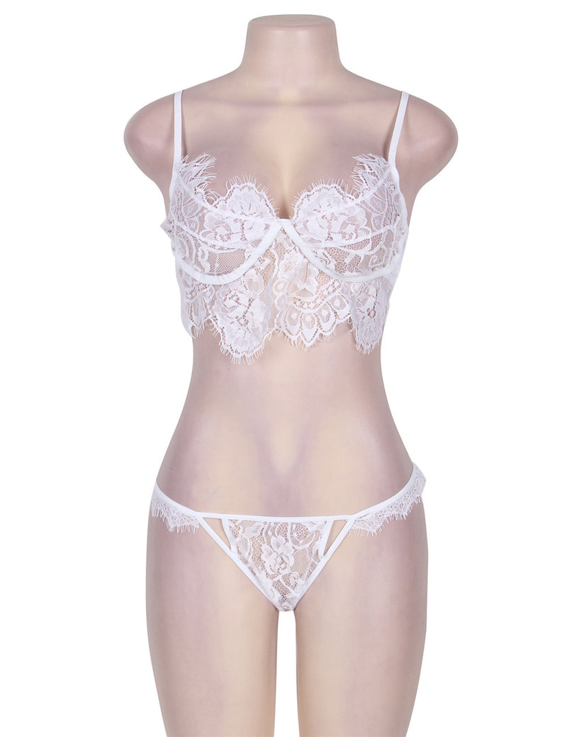 Exquisite Sheer White Lace Underwired Transparent Bra Set