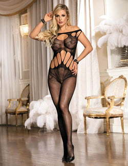 Sheer Hollow Out Off Shoulder Black Fishnet Bodystockings