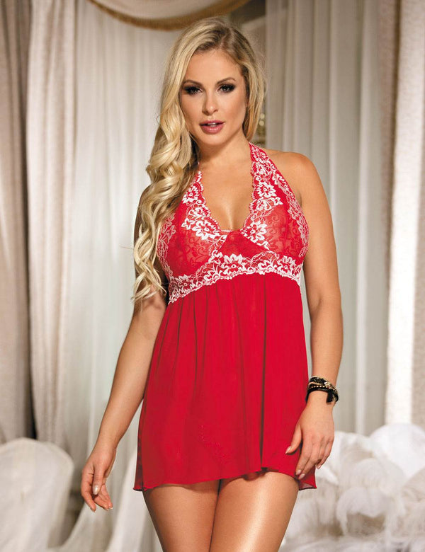 Classy Red Floral Lace Embroidery Mesh Halter Babydoll Lingerie