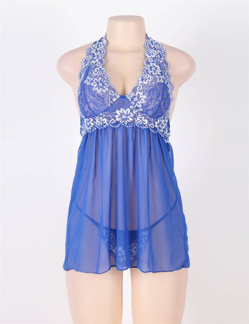 Super Elegant Floral Lace Embroidery Full Cup Mesh Halter Babydoll