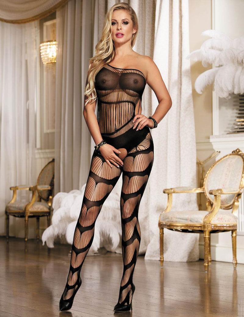 Free Shipping Black Sheer One Shoulder Open Crotch Bodystocking
