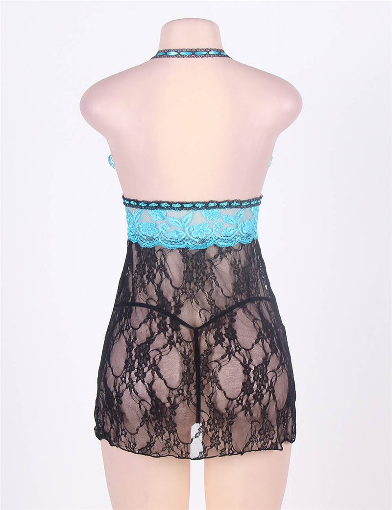 Blue and Black Sheer Lace Stitching Plus Size Halter Babydoll Dress