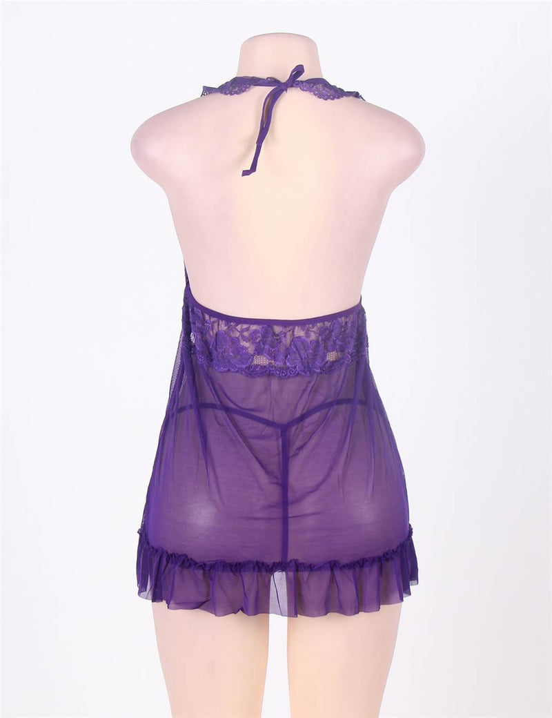 Exquisite Purple Floral Lace Cup Sheer Mesh Stretchy Halter Babydoll