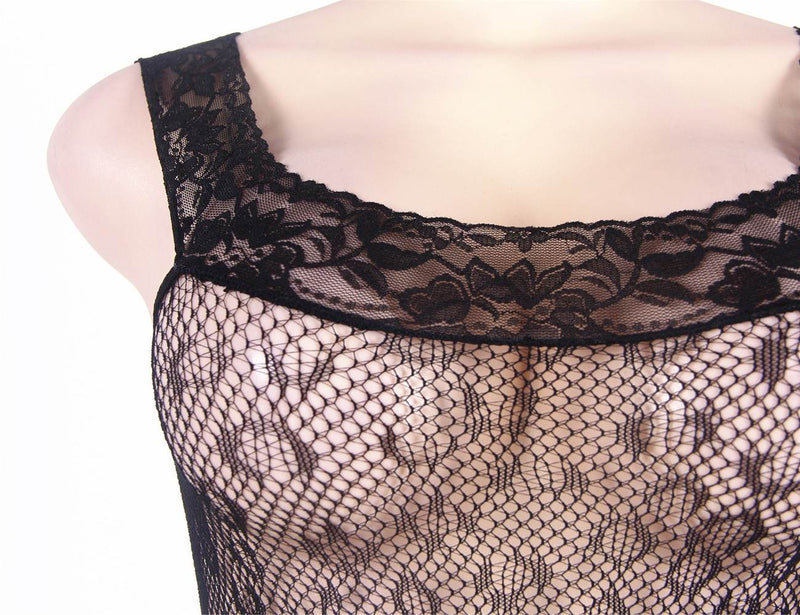 Stylish Leopard Pattern Lace Stitched Crotchless Black Bodystocking