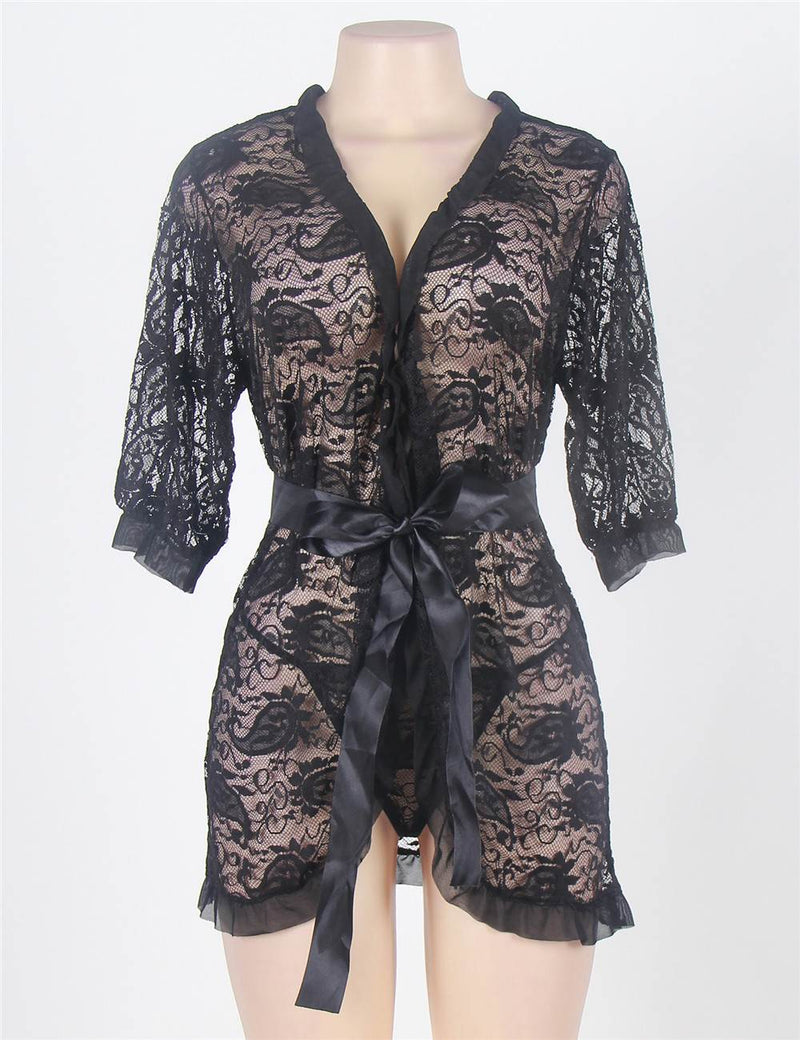 Classy Plus Size Black Floral Lace Half Sleeve Ruffled Sexy Robe