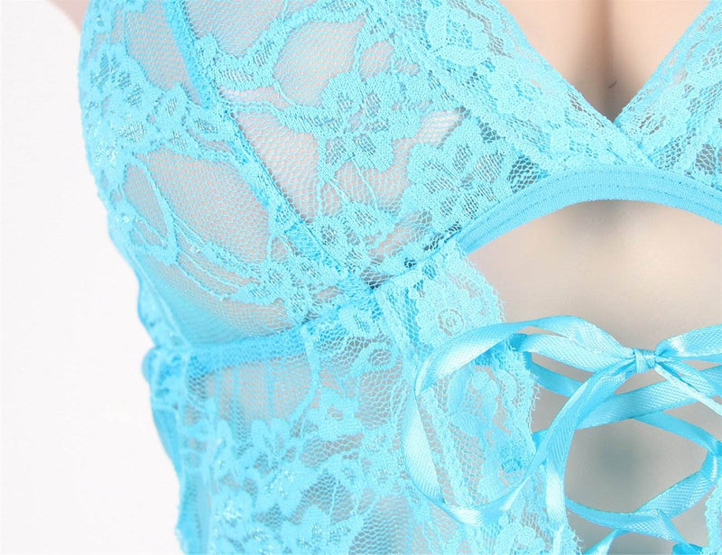 Delicate Blue Mesh Flower Embroidery Back Hollow Sexy Babydoll