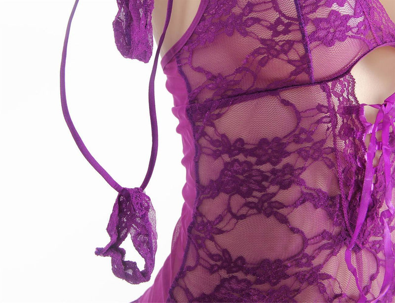 Delicate Plus Size Purple Sheer Lace Back Hollow Out Babydoll Set