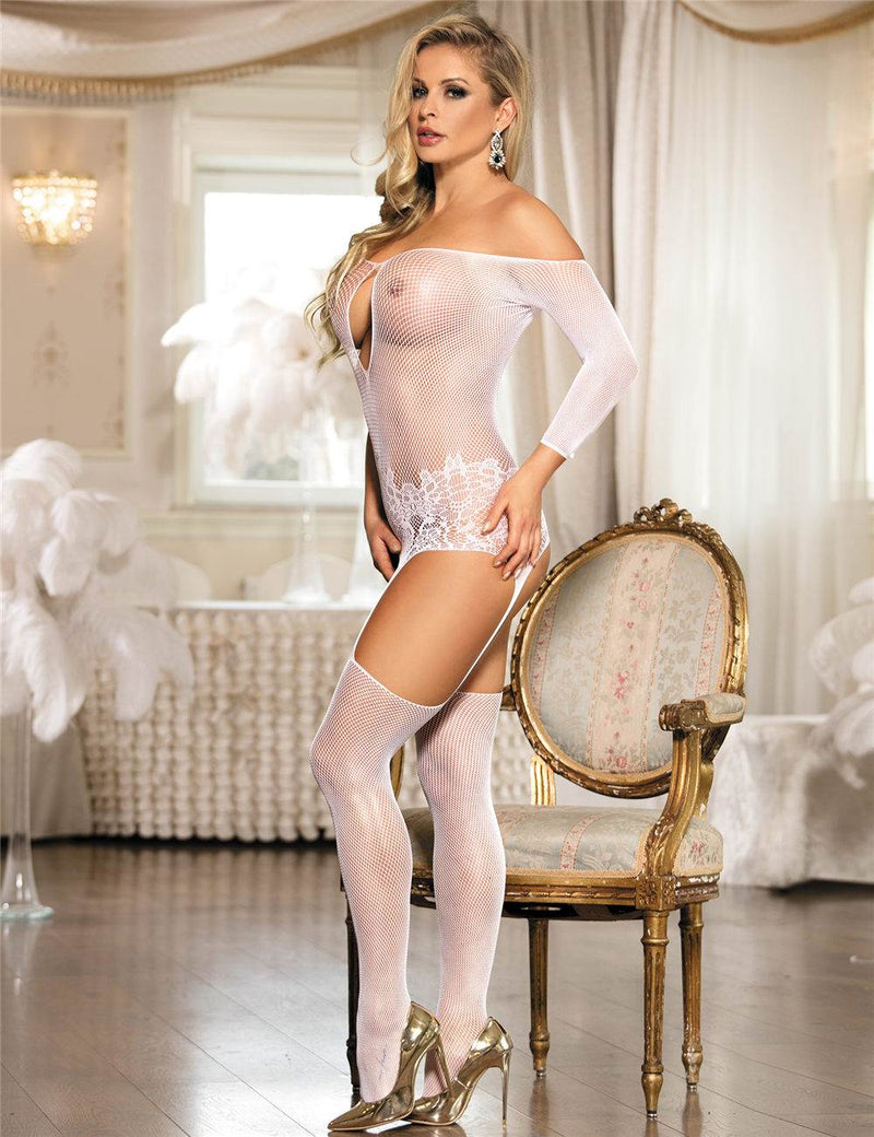 High Quality Stylish Off Shoulder Open Crotch Fishnet Bodystockings