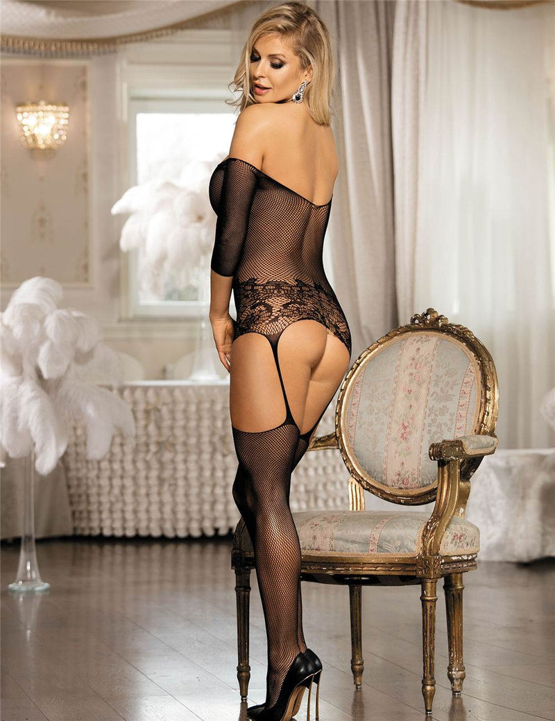 Super Stretchy Off Shoulder Crotchless Black Fishnet Bodystockings