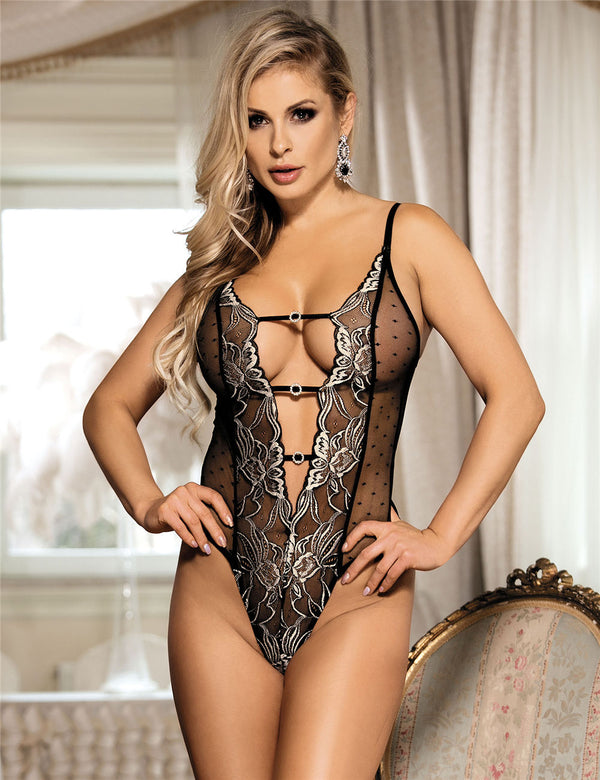Delicate Sheer Mesh Floral Embroidery Polka Dot Black Bodysuit