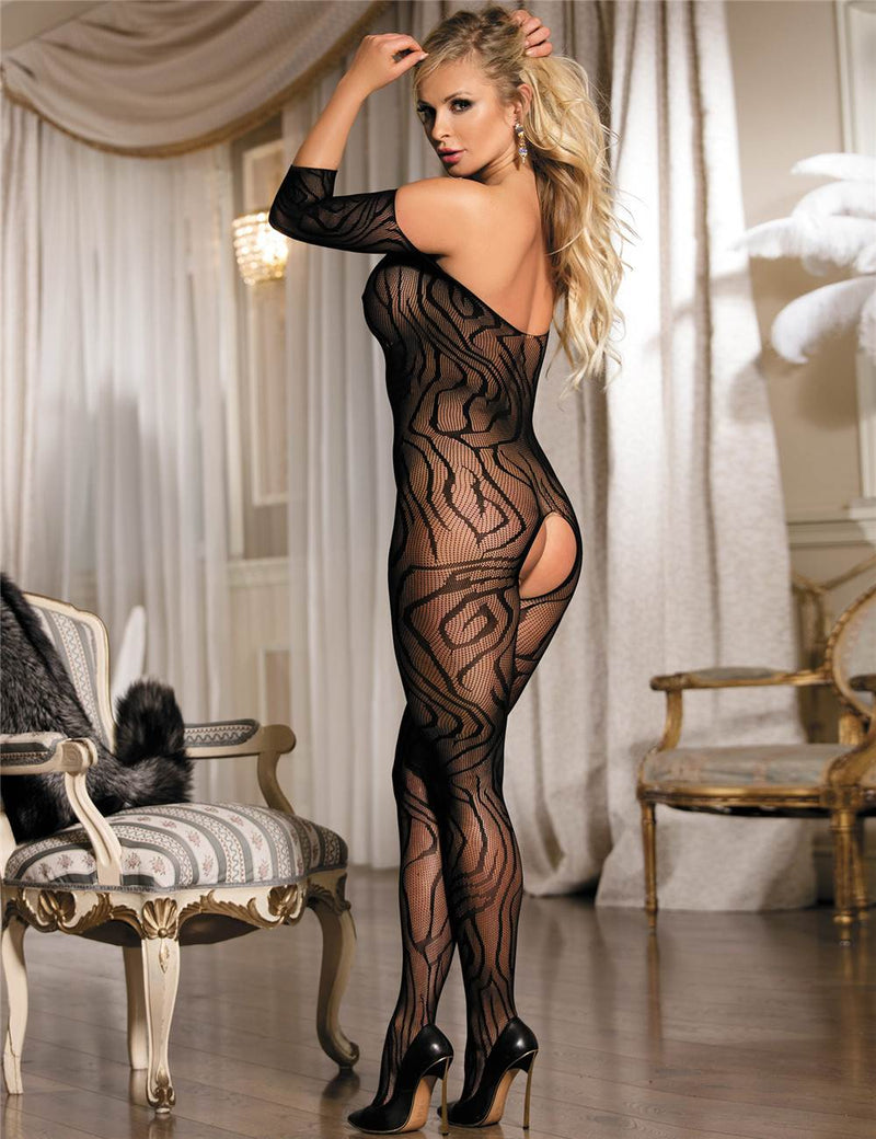 Stylish Off Shoulder Sexy Open Crotch Black Body Stockings