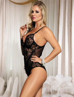Delicate Black Sheer Lace Mesh Stitched Hollow Women Sexy Bodysuit