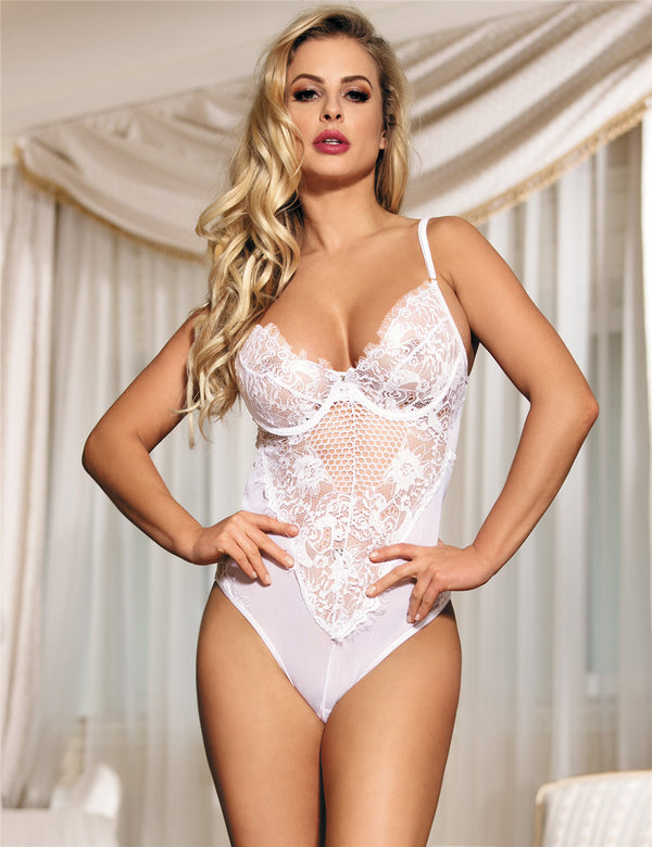 Classy White Sheer Lace Mesh Stitched Hollow Women Sexy Teddy