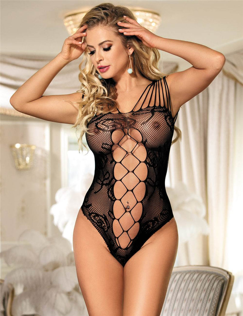 Exquisite Hollow Out Sexy Fishnet Bodysuit With High Elasticity