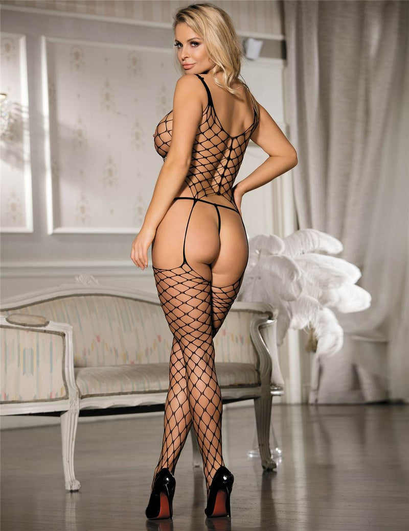 Super Sexy Crotchless Women Black Fishnet Bodystockings