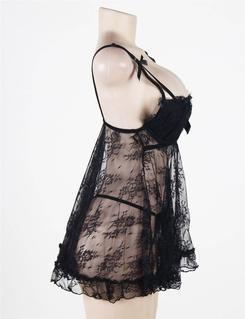 Delicate Black Sheer Lace Ruffle Plus Size Babydoll Lingerie Set