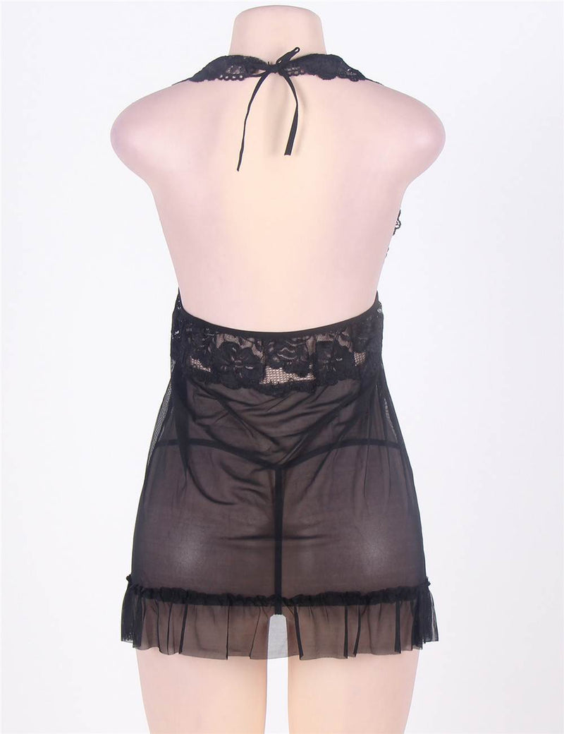 Queen Size Black Sheer Mesh Lace Cup Backless Halter Babydoll