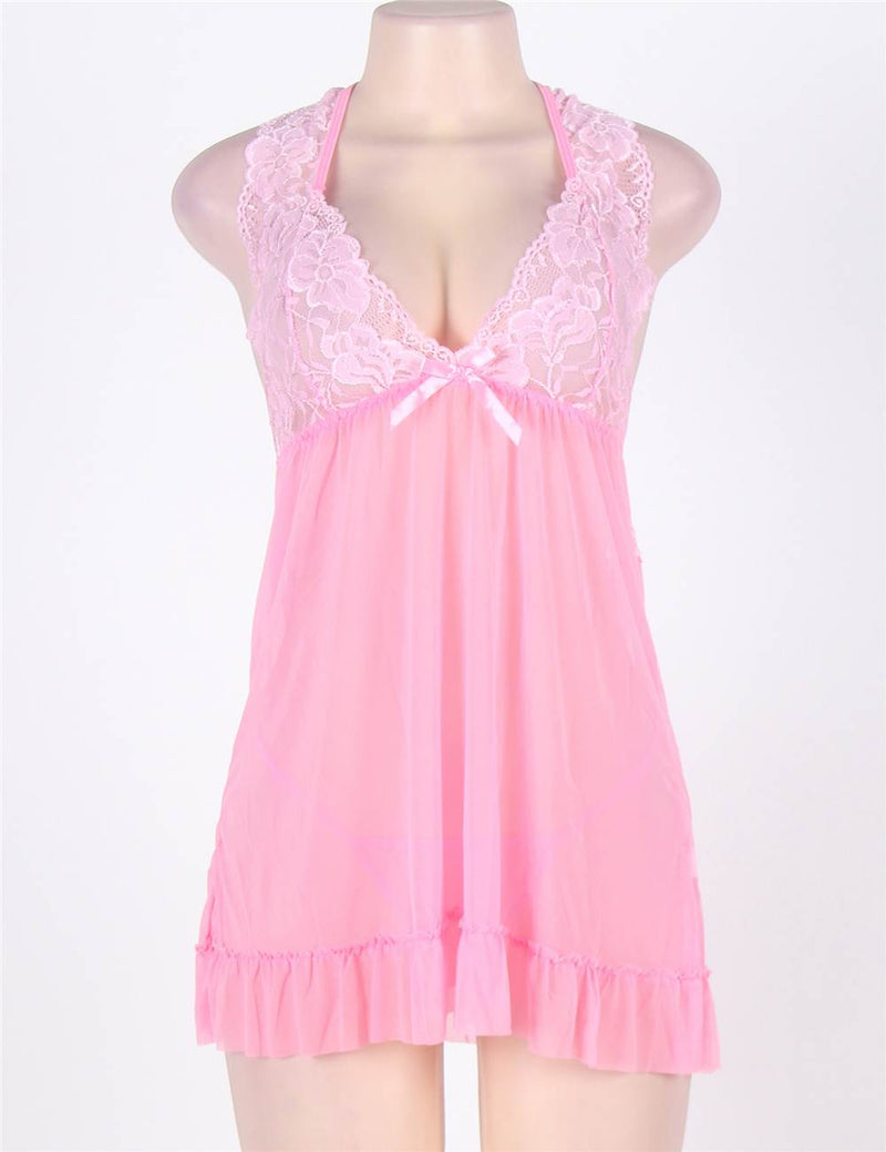 Extreme Lovely Pink Lace Plus Size Halter Babydoll Dress Lingerie Set