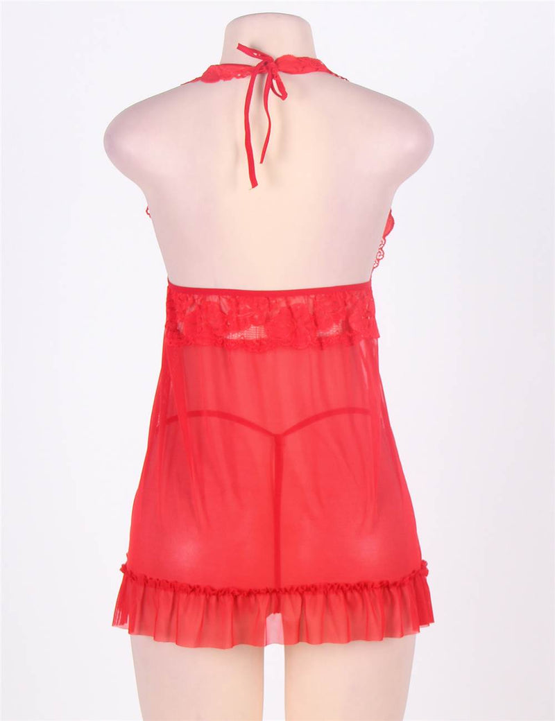 Classy Red Floral Lace Cup Sheer Mesh Delicate Babydoll Dress