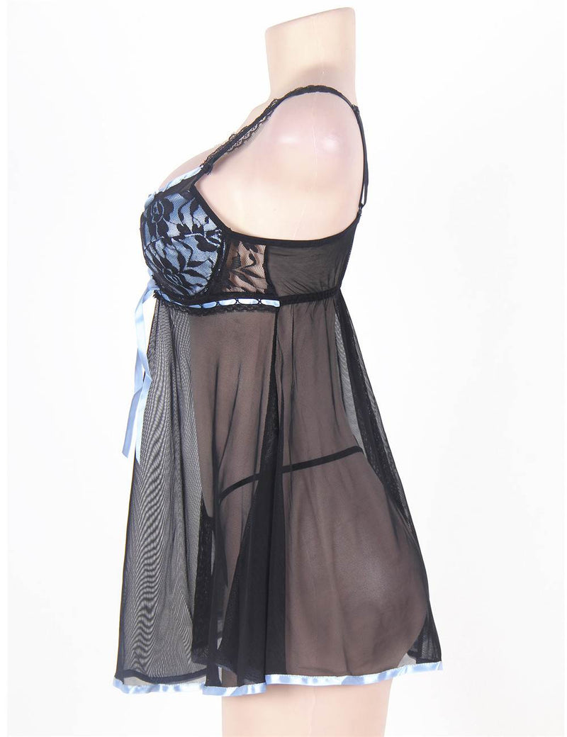 Plus Size Black Sheer Mesh Underwired Transparent Babydoll Dress