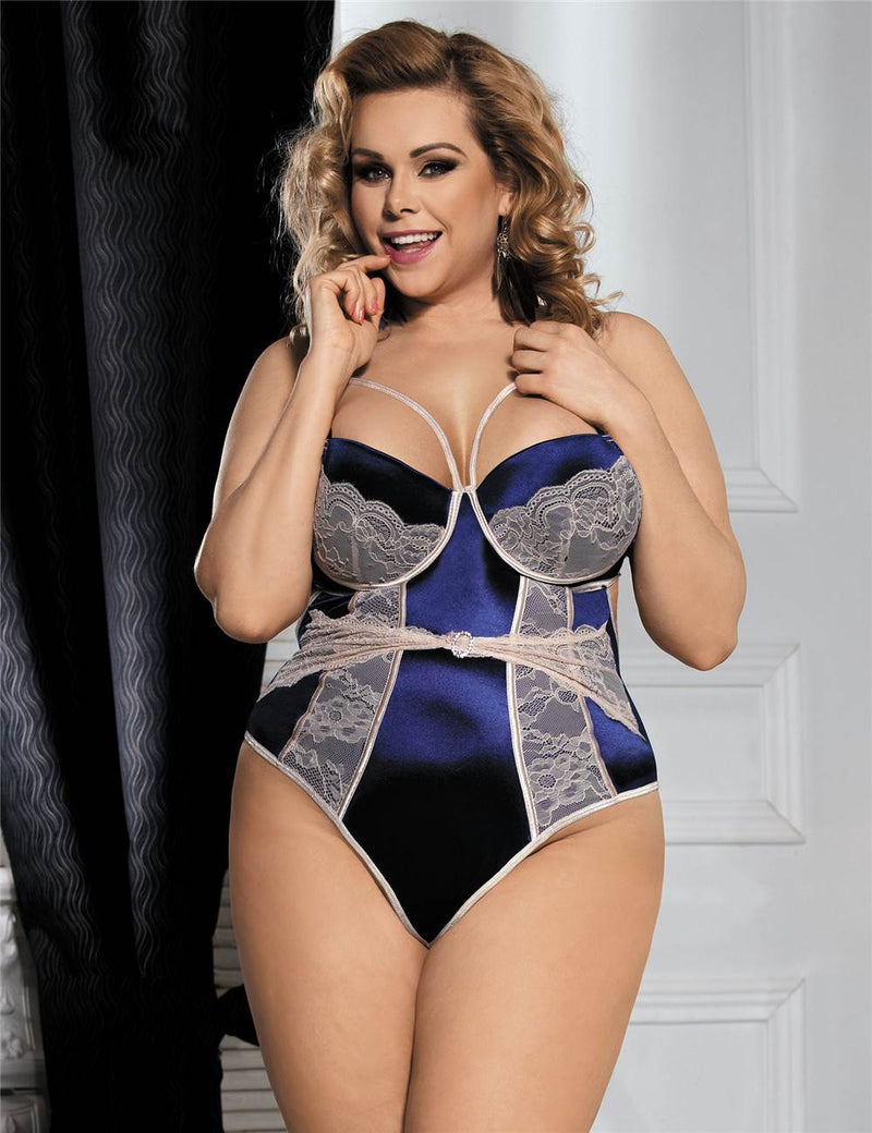 Charming Blue Satin Beige Lace Patchwork Plus Size Teddy Lingerie