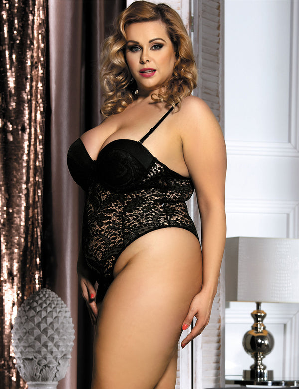 Plus Size Sexy Bodysuit Lace Cup Snap Crotch Fashion Teddy Lingerie