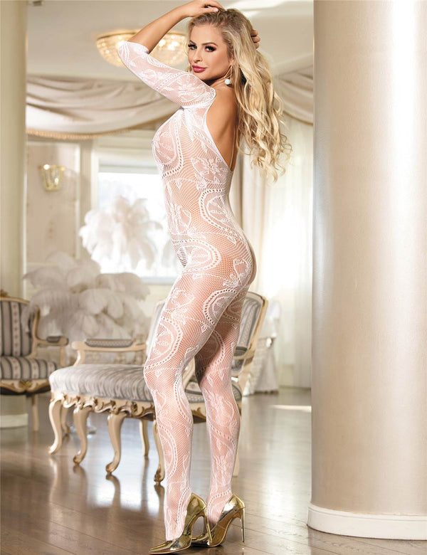 Super Delicate Stretchy White Floral Fishnet Crotchless Bodystocking