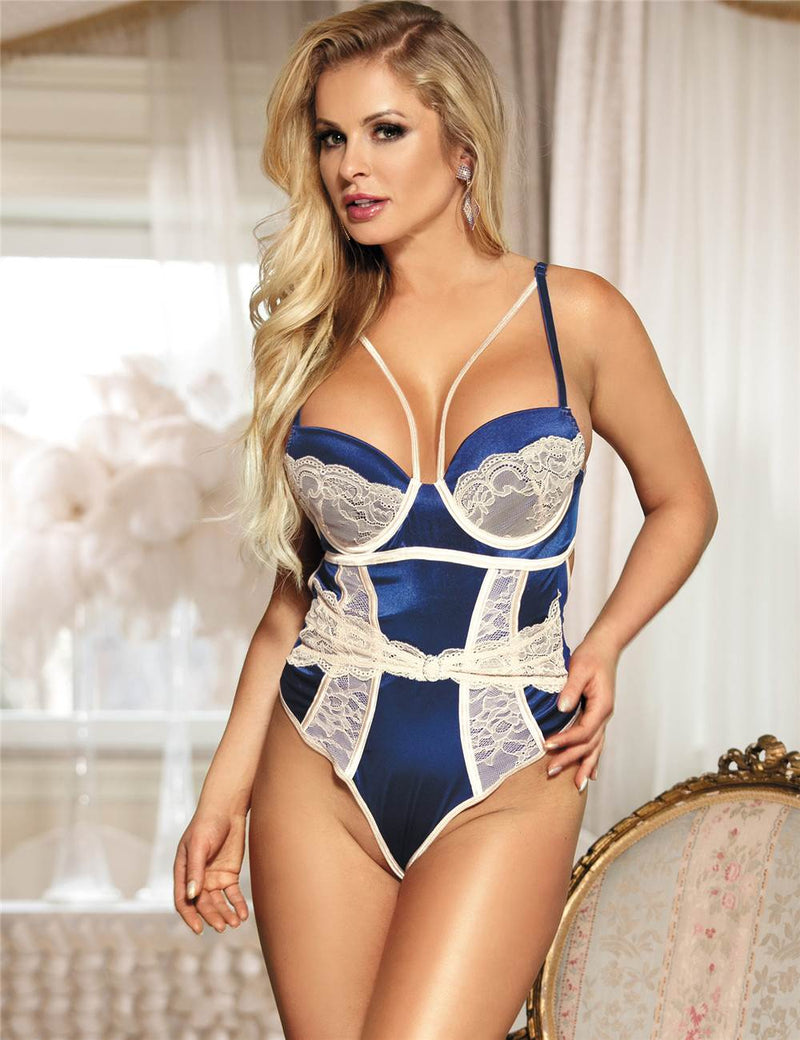 Gorgeous Blue Satin Underwired Full Bodysuit With Bra Pad